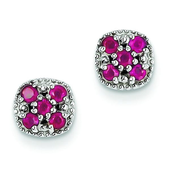 Sterling Silver Ruby Flower Earrings from Miles Beamon Jewelry - Miles Beamon Jewelry