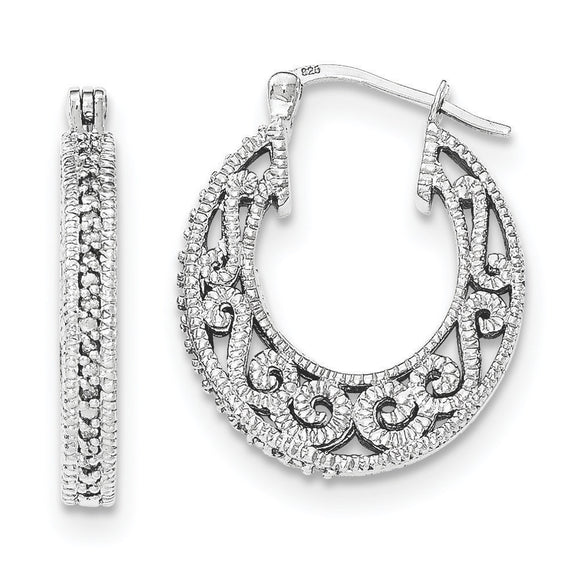 Sterling Silver Diamond Hoop Earrings from Miles Beamon Jewelry - Miles Beamon Jewelry
