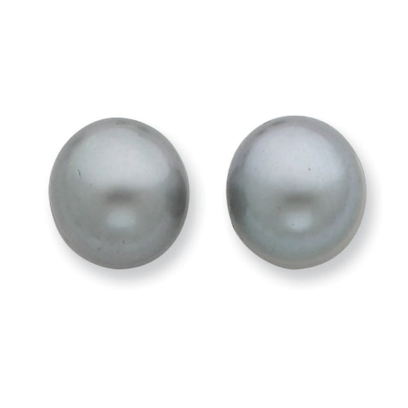 Sterling Silver FW Cultured Grey Button Pearl Stud Earrings from Miles Beamon Jewelry - Miles Beamon Jewelry