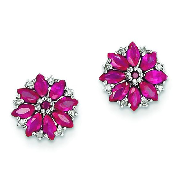 Sterling Silver Diamond & Ruby Earrings from Miles Beamon Jewelry - Miles Beamon Jewelry