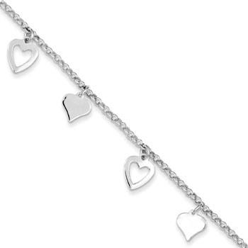 Sterling Silver Heart Charm Bracelet from Miles Beamon Jewelry - Miles Beamon Jewelry