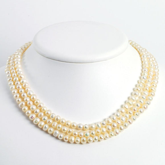 Sterling Silver Triple Strand White Freshwater Cultured Pearl Necklace from Miles Beamon Jewelry - Miles Beamon Jewelry