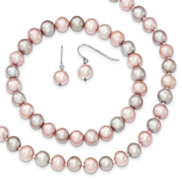 Sterling Silver Pink/Grey Freshwater Cultured Potato Pearl Set from Miles Beamon Jewelry - Miles Beamon Jewelry