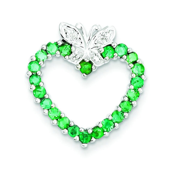 Sterling Silver Emerald Heart Pendant from Miles Beamon Jewelry - Miles Beamon Jewelry