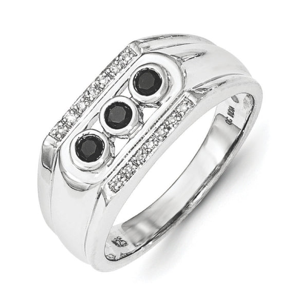 Sterling Silver Black And White Diamond Men's Ring from Miles Beamon Jewelry - Miles Beamon Jewelry