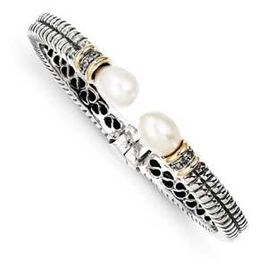 Sterling Silver With 14K Cultured Pearl Cuff Bracelet from Miles Beamon Jewelry - Miles Beamon Jewelry