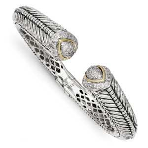 Sterling Silver With 14K Diamond Hinged Cuff Bracelet from Miles Beamon Jewelry - Miles Beamon Jewelry