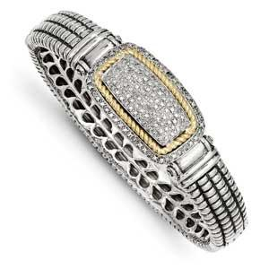 Sterling Silver With 14K Diamond Bangle Bracelet from Miles Beamon Jewelry - Miles Beamon Jewelry