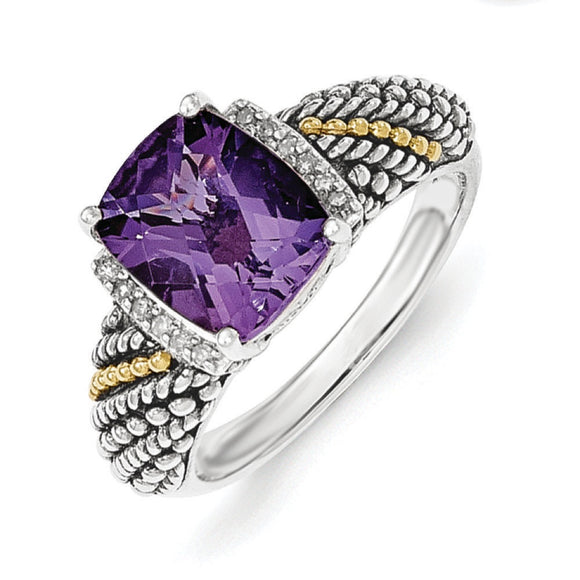 Sterling Silver with 14k Diamond and Amethyst Ring
