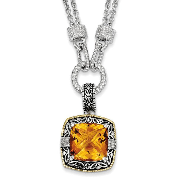 Sterling Silver With 14K Citrine Necklace from Miles Beamon Jewelry - Miles Beamon Jewelry