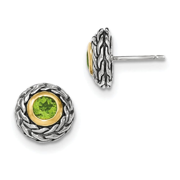 Sterling Silver With 14K Peridot Post Earrings from Miles Beamon Jewelry - Miles Beamon Jewelry