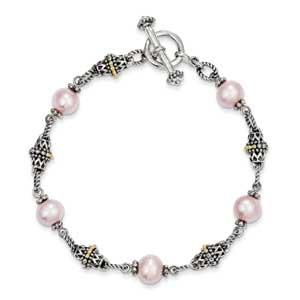 Sterling Silver With Freshwater Cultured Pink Pearl Bracelet from Miles Beamon Jewelry - Miles Beamon Jewelry