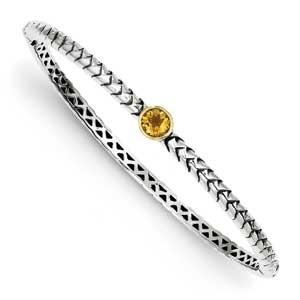 Sterling Silver With 14K Citrine Bangle Bracelet from Miles Beamon Jewelry - Miles Beamon Jewelry