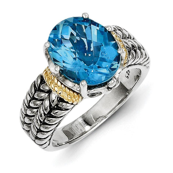 Sterling Silver With 14K Swiss Blue Topaz Ring from Miles Beamon Jewelry - Miles Beamon Jewelry