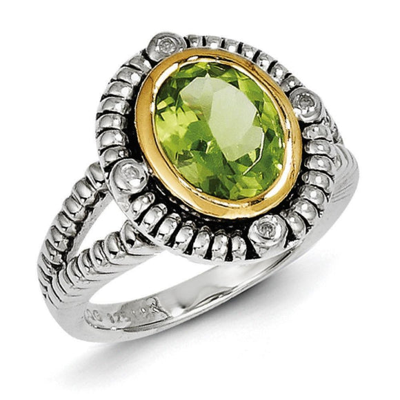 Sterling Silver With 14K Peridot Ring from Miles Beamon Jewelry - Miles Beamon Jewelry