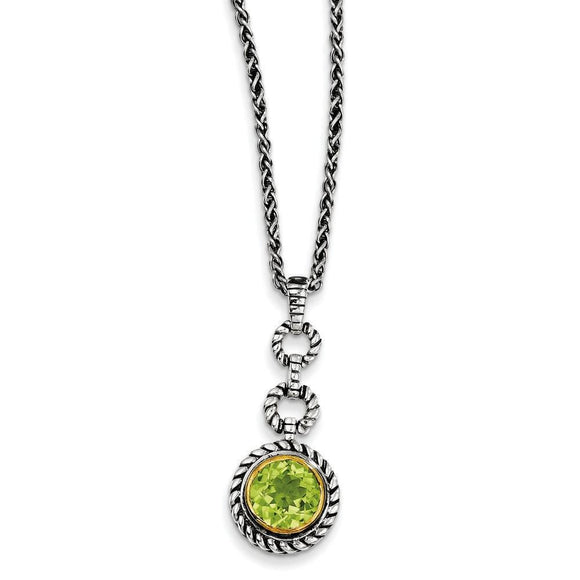 Sterling Silver With Gold-Tone Flash Gold-Plated Peridot Necklace from Miles Beamon Jewelry - Miles Beamon Jewelry