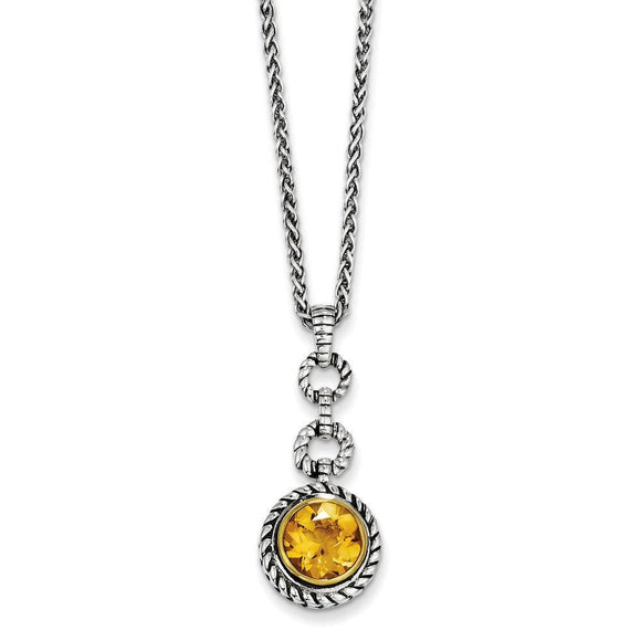Sterling Silver With Gold-Tone Flash GP Citrine Necklace from Miles Beamon Jewelry - Miles Beamon Jewelry