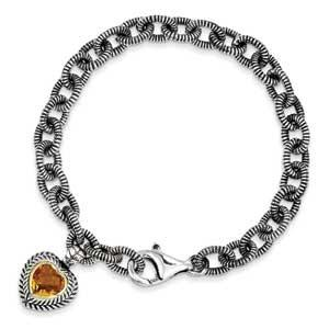 Sterling Silver With 14K Citrine Heart Bracelet from Miles Beamon Jewelry - Miles Beamon Jewelry