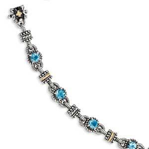 Sterling Silver With 14K Swiss Blue Topaz Bracelet from Miles Beamon Jewelry - Miles Beamon Jewelry