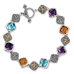 Sterling SIlver w/14k Multi-Gemstone Bracelet from Miles Beamon Jewelry - Miles Beamon Jewelry