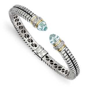 Sterling Silver With 14K Sky Blue Topaz Cuff Bracelet from Miles Beamon Jewelry - Miles Beamon Jewelry