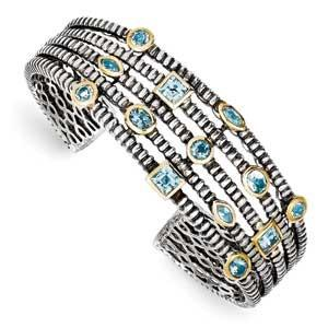 Sterling Silver/Gold T-Tone Sky/Swiss/London Blue Topaz Cuff Bracelet from Miles Beamon Jewelry - Miles Beamon Jewelry