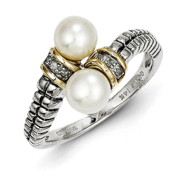 Sterling Silver With 14K Freshwater Cultured Pearl Ring from Miles Beamon Jewelry - Miles Beamon Jewelry