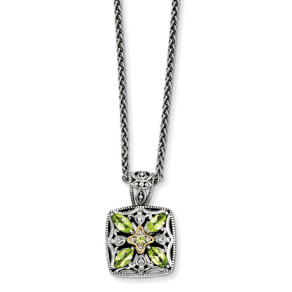 Sterling Silver With 14K Peridot Necklace from Miles Beamon Jewelry - Miles Beamon Jewelry