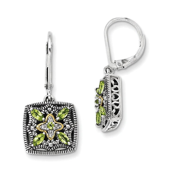 Sterling Silver With 14K Peridot Earrings from Miles Beamon Jewelry - Miles Beamon Jewelry
