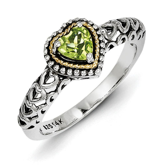 Sterling Silver With 14K Peridot Heart Ring from Miles Beamon Jewelry - Miles Beamon Jewelry