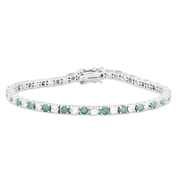 Sterling Silver Emerald And White Topaz Tennis Bracelet from Miles Beamon Jewelry - Miles Beamon Jewelry