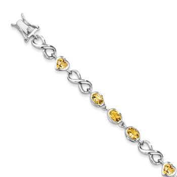 Sterling Silver Oval Heart Citrine Bracelet from Miles Beamon Jewelry - Miles Beamon Jewelry