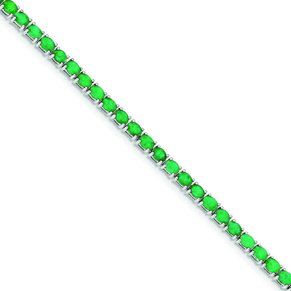 Sterling Silver Oval Emerald Bracelet from Miles Beamon Jewelry - Miles Beamon Jewelry