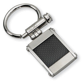 Stainless Steel Black Carbon Fiber Inlay Key Ring from Miles Beamon Jewelry - Miles Beamon Jewelry