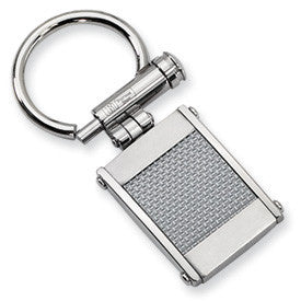 Stainless Steel  & Grey Carbon Fiber Inlay Key Ring from Miles Beamon Jewelry - Miles Beamon Jewelry