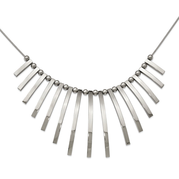 Stainless Steel Bars And Beads Necklace