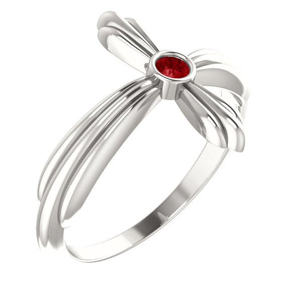 Sterling Silver Genuine Ruby Sideways Cross Ring from Miles Beamon Jewelry - Miles Beamon Jewelry