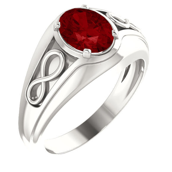 Sterling Silver Chatham Ruby Infinity-Style Men's Ring from Miles Beamon Jewelry - Miles Beamon Jewelry