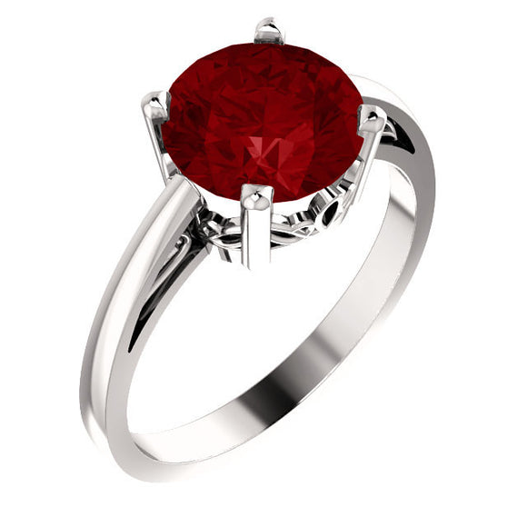 14k White Gold Chatham Created Ruby Ring