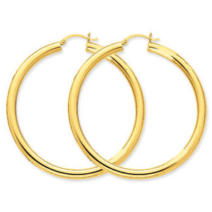 14K Polished 4mm Lightweight Round Hoop Earrings