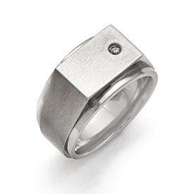 Titanium With Cubic Zirconia Signet Ring from Miles Beamon Jewelry - Miles Beamon Jewelry
