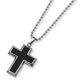 Titanium Black Carbon Fiber Inlay Cross Necklace from Miles Beamon Jewelry - Miles Beamon Jewelry