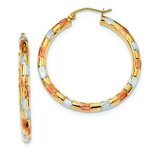 14K Yellow Gold With White and Rose RhodiumD/C Hoop Earrings from Miles Beamon Jewelry - Miles Beamon Jewelry
