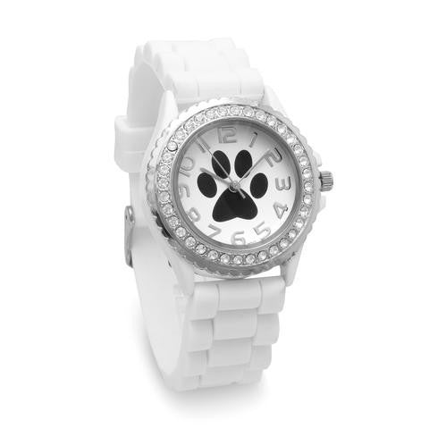 White Silicone Paw Print Fashion Watch from Miles Beamon Jewelry - Miles Beamon Jewelry
