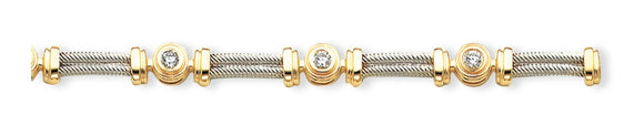 14K Two-Tone Diamond Tennis Bracelet from Miles Beamon Jewelry - Miles Beamon Jewelry