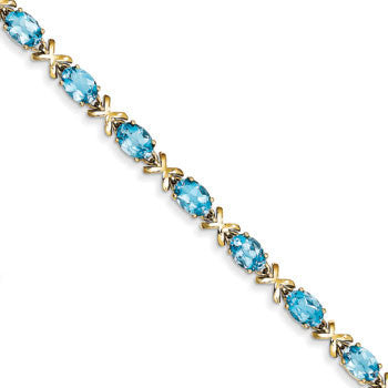 14K Oval Blue Topaz Bracelet from Miles Beamon Jewelry - Miles Beamon Jewelry