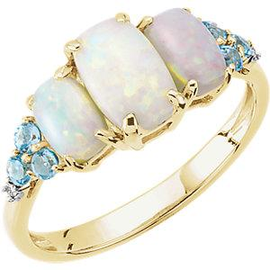 14K Yellow Gold Opal, Blue Topaz Ring from Miles Beamon Jewelry - Miles Beamon Jewelry