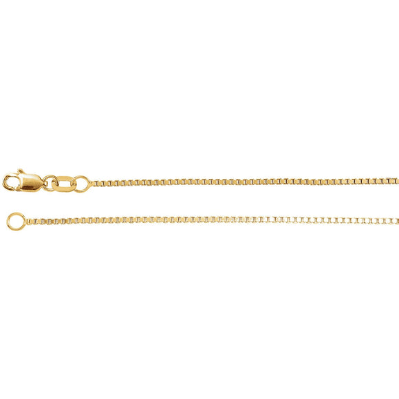 14K Yellow/White Gold and Sterling Silver 1mm Box Chain from Miles Beamon Jewelry - Miles Beamon Jewelry