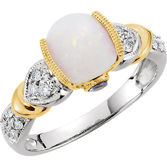 14K White Gold & Yellow Gold Opal & Tanzanite Ring