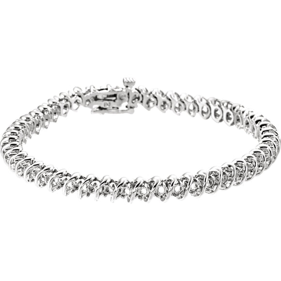 14K White Gold Diamond Line Bracelet from Miles Beamon Jewelry - Miles Beamon Jewelry